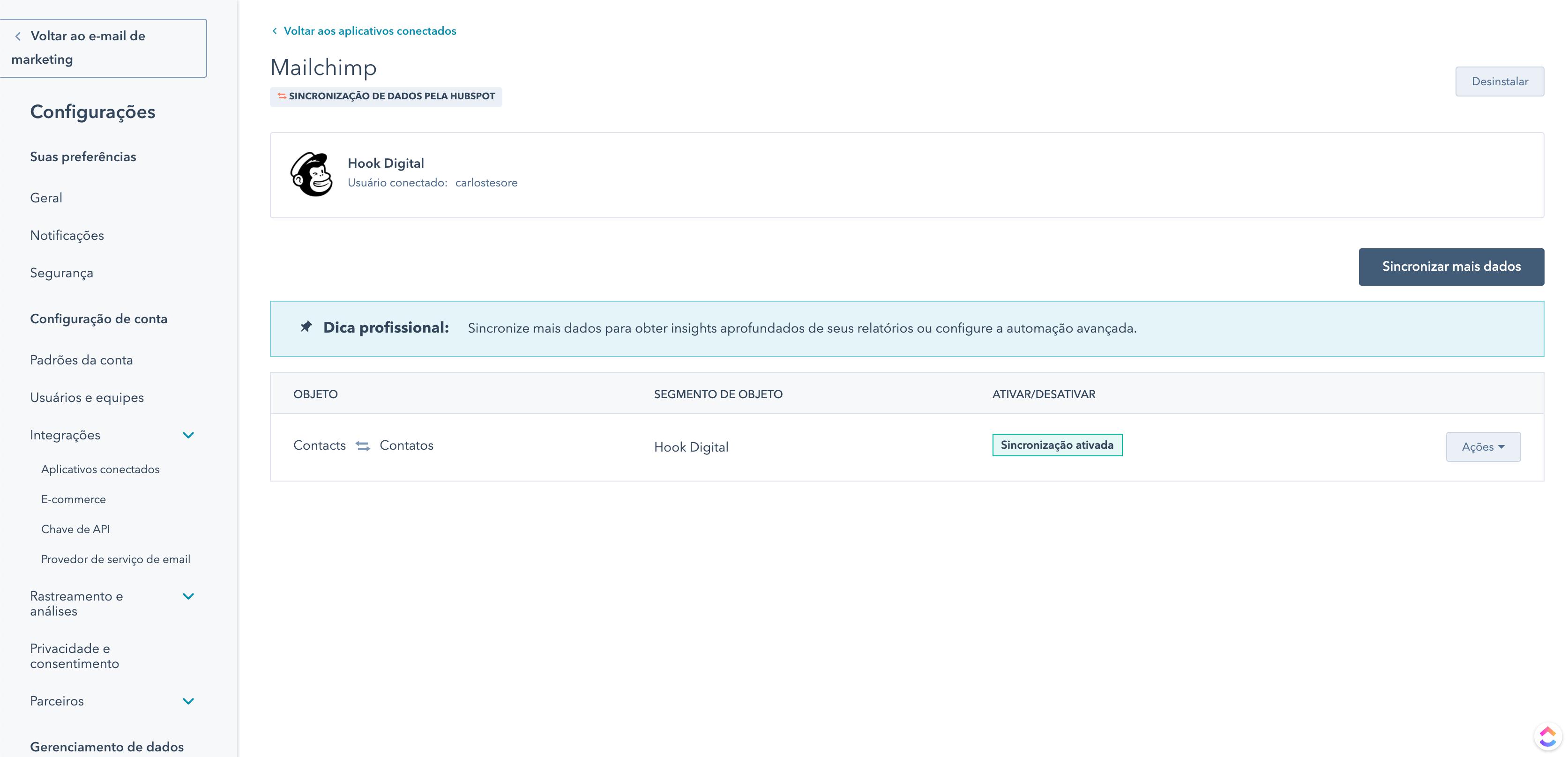 HubSpot Operações - Integração com Mailchimp